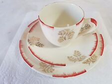 1950s Crown Clarence Trio Cup Saucer & Side Plate Red Edging Gold Leaf on White
