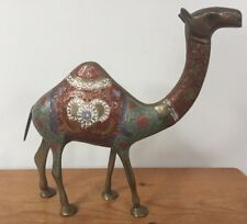 "Vtg Mid Century Solid Brass Enamel Standing Camel Animal Figurine Statue 9.75"""