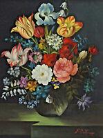 Signed F O Knapp - Flower Bouquet IN One Vase