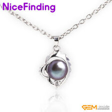 Natural Pearl Necklace Pendant White Gold Plated Fashion Women Jewelry Presents