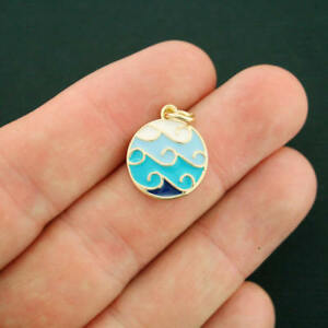 2 Waves Charms Gold Plated Enamel Shades of Blue - E391