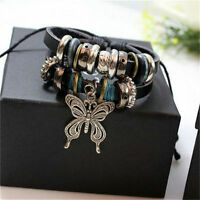 Fashion WOMEN Infinity Leather Charm Bracelet Silver lots Beads Style Jewelry