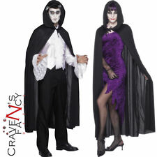 Hooded Black Hooded Vampire Cape Halloween Adult Smiffys Fancy Dress Accessory