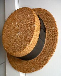 Vintage Straw Boater Hat Patent 1898 Collins & Fairbanks Boston P544
