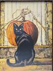Bonnie Mohr Black Cat Fall Pumpkin Art Print 12 x 16