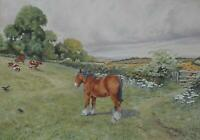 Horses in a Paddock 'The Field Path' Watercolour c1930s Victor HS Burroughs