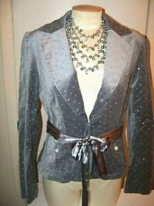 WHITE HOUSE BLACK MARKET sz 8 -GRAY VELVET JACKET WITH RHINESTONES-NWT $148