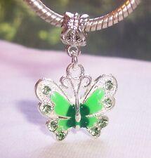 Green Enamel Butterfly Rhinestone Dangle Charm for Silver European Bead Bracelet