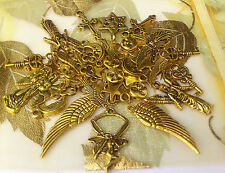 65 Celestial Mix Fairy,Angel, Wings, Moon, Stars *Gold* Charms *New!*