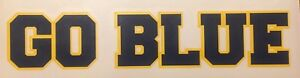 """University Of Michigan Wolverines GO BLUE Decal 1.75""""x8"""" 2 Color *FREE SHIPPING"""