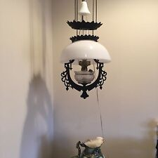Gorgeous Antique 1876 Bradley & Hubbard Iron Horse Hanging Oil Lamp Electrified