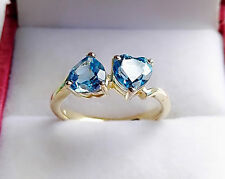 100% Natural Topaz Ring 9k Yellow Gold Over Soild Silver Ring