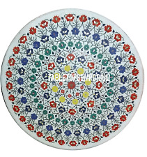 "30"" White Marble Coffee Table Top Multi Gemstone Inlay Mosaic Furniture Decor"