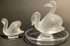 """Lalique Crystal 2 Swan Pin Dish 3 3/4"""" With A Smaller Lalique Swan 2"""""""