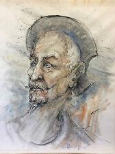Don Quichotte grand dessin technique mixte encre aquarelle pastel J. Ricart