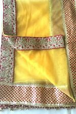 Indian Designer Net Dupatta Long Scarf Sarong with lace trim Fabric Veil Stole
