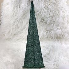 """20"""" Beaded Christmas Tree Cone Shaped Table Top Peacock Decor Teal Blue/Green"""