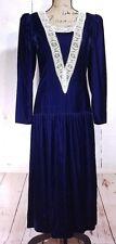 1980s Gunne Sax Juniors Size 7 Blue Velvet Drop Waist Lace Trim Dress Vintage