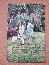 R&L Postcard: Children in Garden, Verse Refers to Shopping/Box of Chocolate