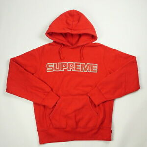 SUPREME 18AW Perforated Leather Hooded Sweatshirt RED S