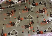 """Vintage combed Cotton geometric modern fabric Taupe Neon Orange Ivory Brown 44""""W"""