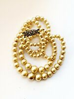 "Vintage 14.5"" Faux PEARL Double Strand Necklace Sterling Silver Clasp"
