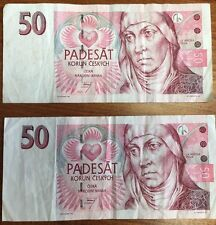 CZECH National Bank 50 KORUN 1997 Listing Is For 2 Notes