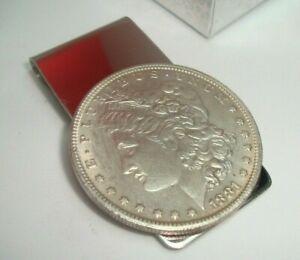 1881 Morgan Dollar Coin Token Not Silver Souvenir Money Clip includes Gift Box