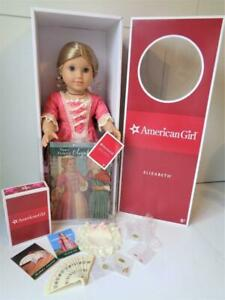 """Retired American Girl 18"""" ELIZABETH Mint in Box + Book Accessories Unplayed With"""