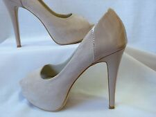 BETTS - LADIES WOMENS HYSTERIA NUDE BEIGE PUMP PEEP TOE SHOE STILETTO SIZE 9