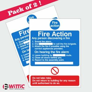 2 X Fire Action Notice. 150mmx200mm Stickers or Rigid Plastic signs (ACT.09W)