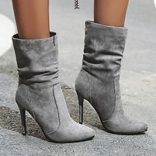 Mid-Calf Boots For Women Push On Suede Stiletto High Heel Winter Booties US 6