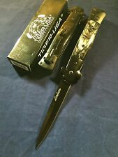 "9"" STILETTO Knife Surgical Steel Black & White Handle Spring ASSISTED"