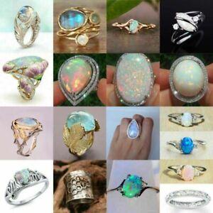 Gorgeous 925 Silver Handmade White Fire Opal Ring Women Wedding Jewelry Size5-10