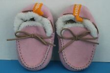 Skidders Infant Baby/Toddler Girl SLIPPERS~Pink Suede~Sherpa lined~Size 12 M~