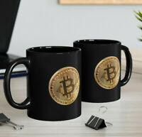 Bitcoin Simulated Coin Black Mug, Crypto Fan Coffee Cup, 2 Sided BTC Gift Mug