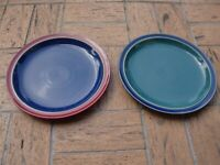 DENBY~ENGLAND~HARLEQUIN~GLAZED STONEWARE~Set of 2~DINNER PLATES~RED/GREEN&BLUE