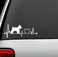 K1036 Schnauzer Heartbeat Dog Decal Sticker Auto Window Art Pet Gift Accessory