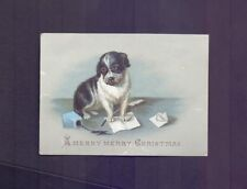 Nice 102 X 74 mm Victorian Christmas Card,Dog Spilling Inkwell  (CC22)