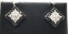 Sterling Silver Princess Cut CZ Square Black Onyx Halo Edgy Stud Post Earrings