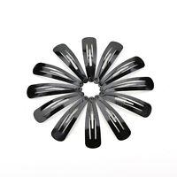 100 Pcs Girls Kids Hair Snap Clips Black Metal BB Hairclip Accessories 5cm P&T
