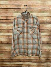 Simms Guide Series Mens Orange Gray Plaid Long Sleeve Fishing Shirt 2XL XXL