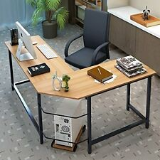 Executive L Shaped Student Small Office Table Top Wood Desk [ Secretary Chair