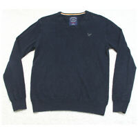 American Eagle Navy Blue V-Neck Cotton Sweater Long Sleeve Man's Top Size Small