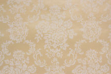 1960's Vintage Wallpaper White Rose Bouquets on Shimmery Gold