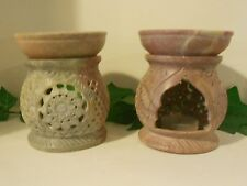 Hand-carved Soapstone Oil Burner - Floral design - wicca/pagan/meditation