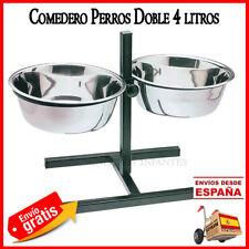 COMEDERO Bebedero para Perros DOBLE con Soporte REGULABLE. 2,8 litros x 2 dog