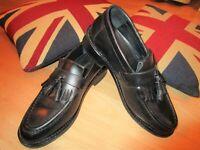 Samuel Windsor Shoes BV82 Black leather Kempton tassel Loafer slip-on 6 UK