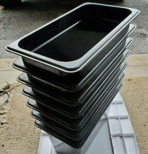 "LOT OF 7 OEM CAMBRO FOOD PANS 1/3 SIZE 6"" DEEP BLACK Camwear® NSF"