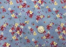 FLANNEL FABRIC BLUE RED WHITE Tossed Bouquet SSI Flower SM Floral Cotton BTY 635